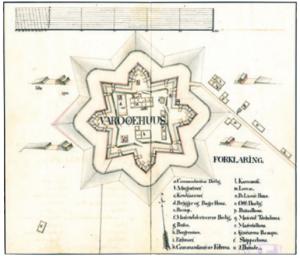 Plantegning av Vardøhus festning fra ca. 1817, utført for Armédepartementet. Original i Riksarkivet.