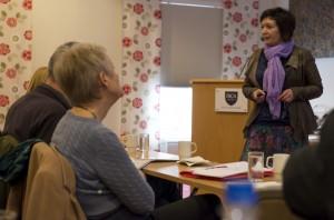Arkivar Grete G. Bergstrøm fortale om vern av urfolks immateriell kultur. Foto: Hannele Fors