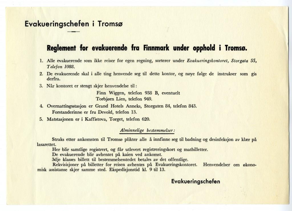 Reglement for evakuerende under opphold i Tromsø. Arkiv: Gjenreisningsmuseet