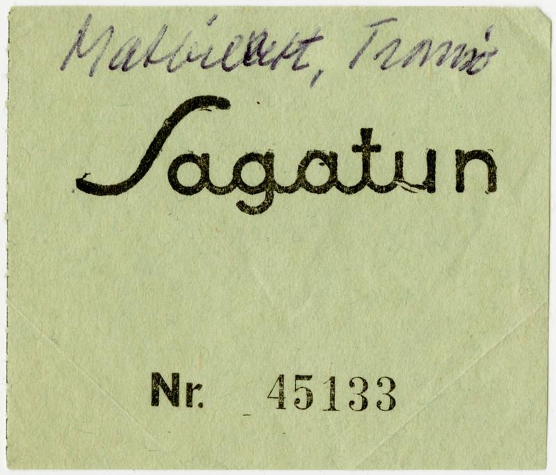 Mot denne matkupongen fikk man servert middag på Sagatun cafe i Tromsø under evakueringen. Arkiv: Gjenreisningsmuseet.